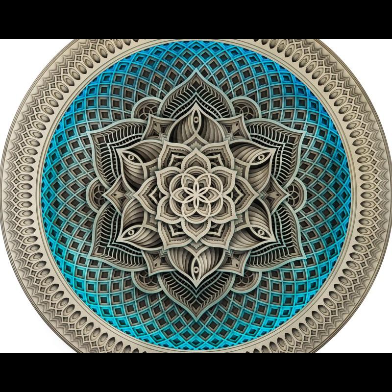 "Wall Wooden Psychedelic Lamp Mandala Wall Art ""Golden Flower"", 13 l..."