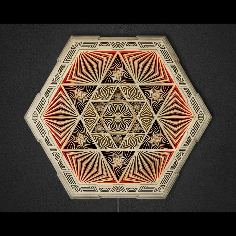 "Magic Wood lamp Geometric Light ""Magen"", 5 layers"