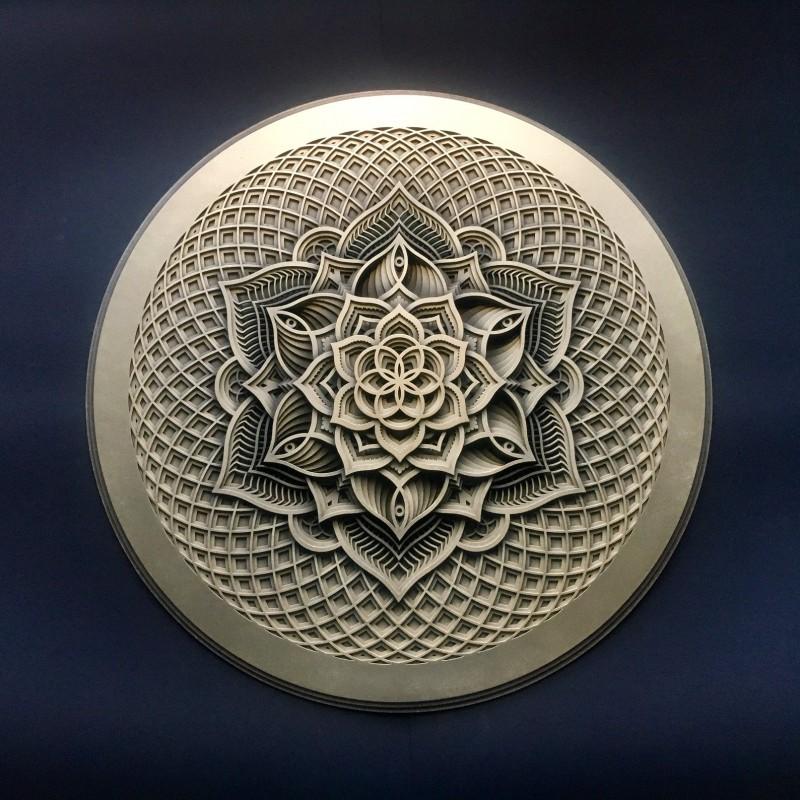 "Mandala Wall Wood Deco ""Golden Flower"" 13 layers"