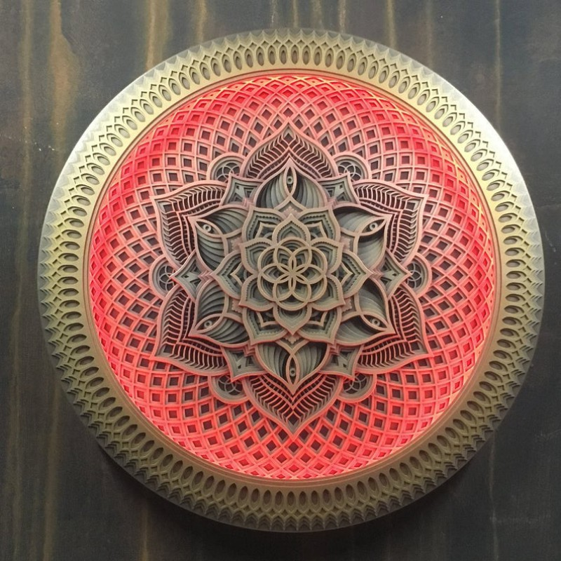"Wall Wooden Psychedelic Lamp Mandala Wall Art ""Flower of Life"", 13 layers"