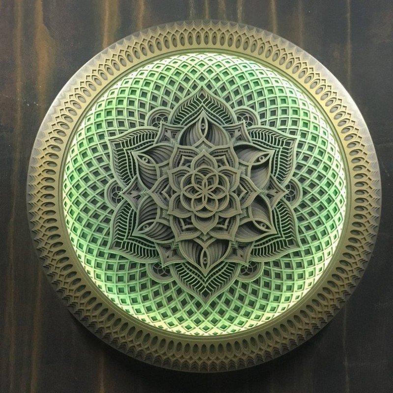 "Wall Wooden Psychedelic Lamp Mandala Wall Art ""Flower of Life"", 13 ..."