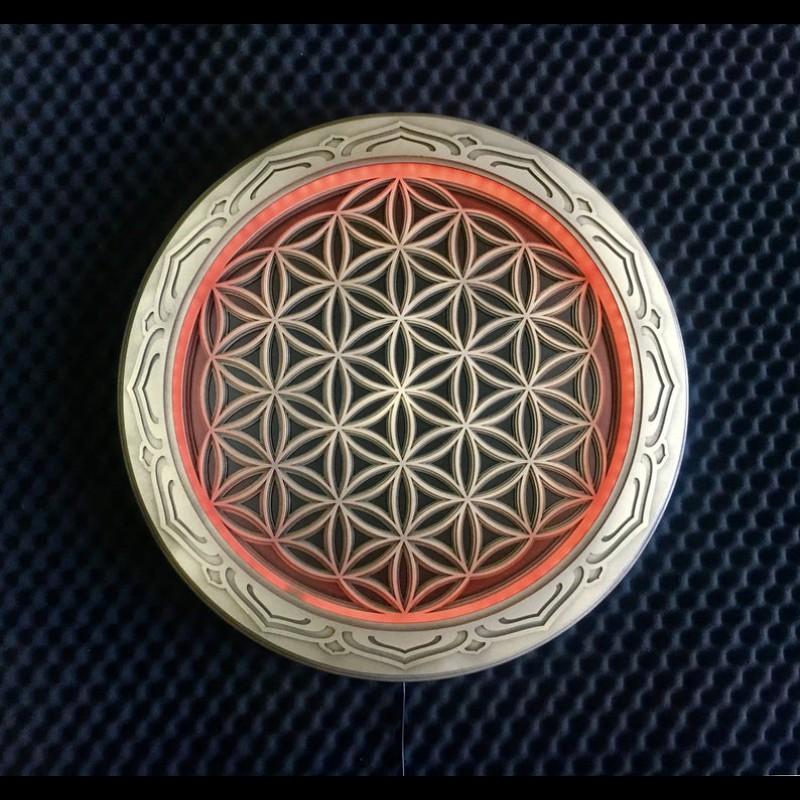 "Boho Wooden Lamp Sacred Geometry ""Flower of Life"", 4 layers"