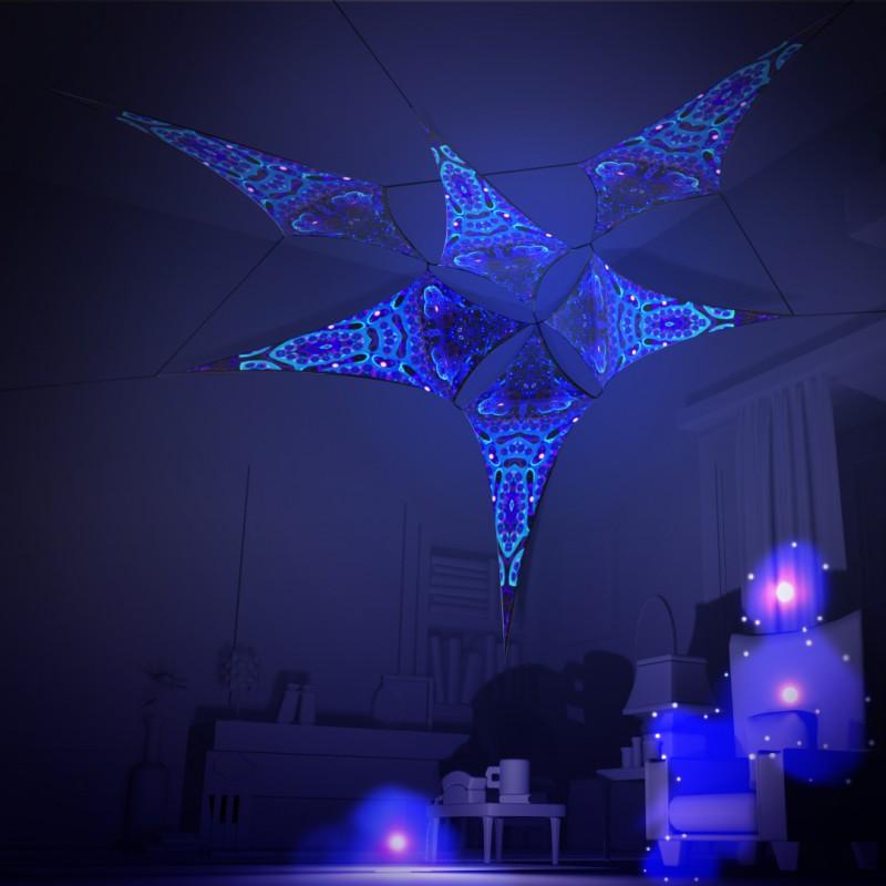 Incredible party decor UV-active canopy Deep Sea - 6 parts set.