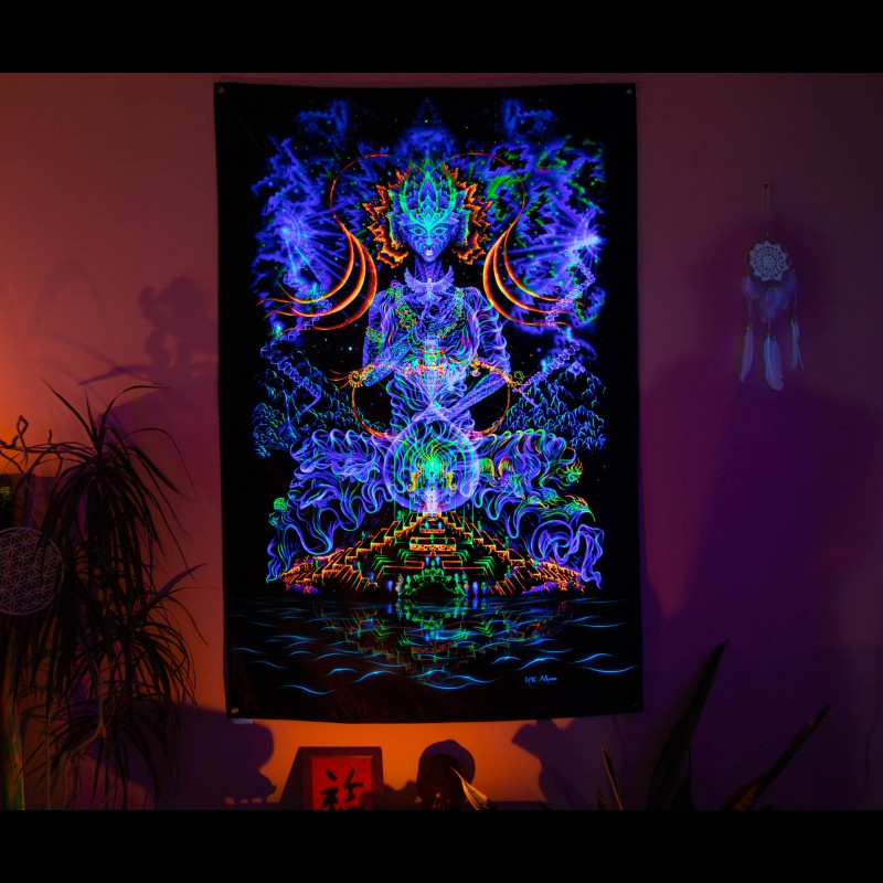 UV Active Trippy Psychedelic Wall Tapestry «Multidimensional Entity»