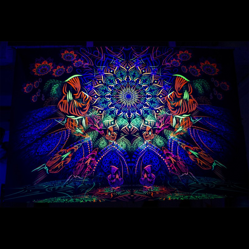 Blacklight active hippie painting «Cosmic monks gathering»