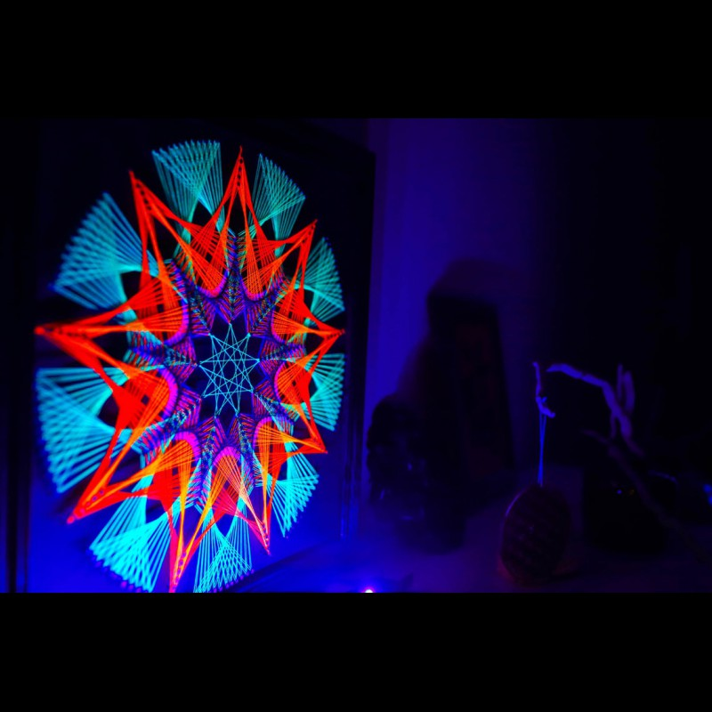 "Trippy Wall Deco Fluorescent String Art  ""Beginning"""