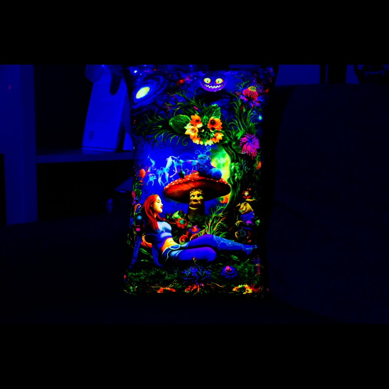 "Decorative Boho UV-Active Pillow ""Cyber Alice"""
