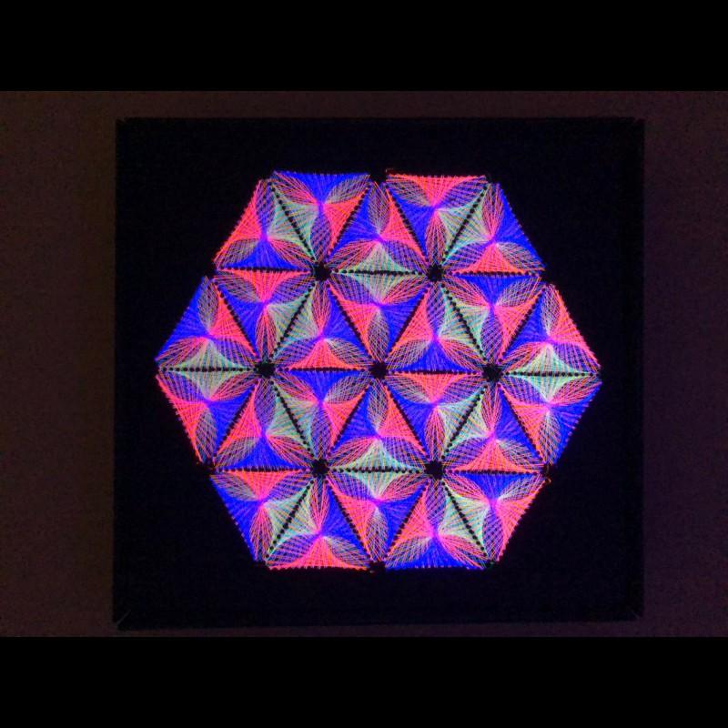 "Fractal made of threads, sacred meditative painting  ""Inner Harmony"""