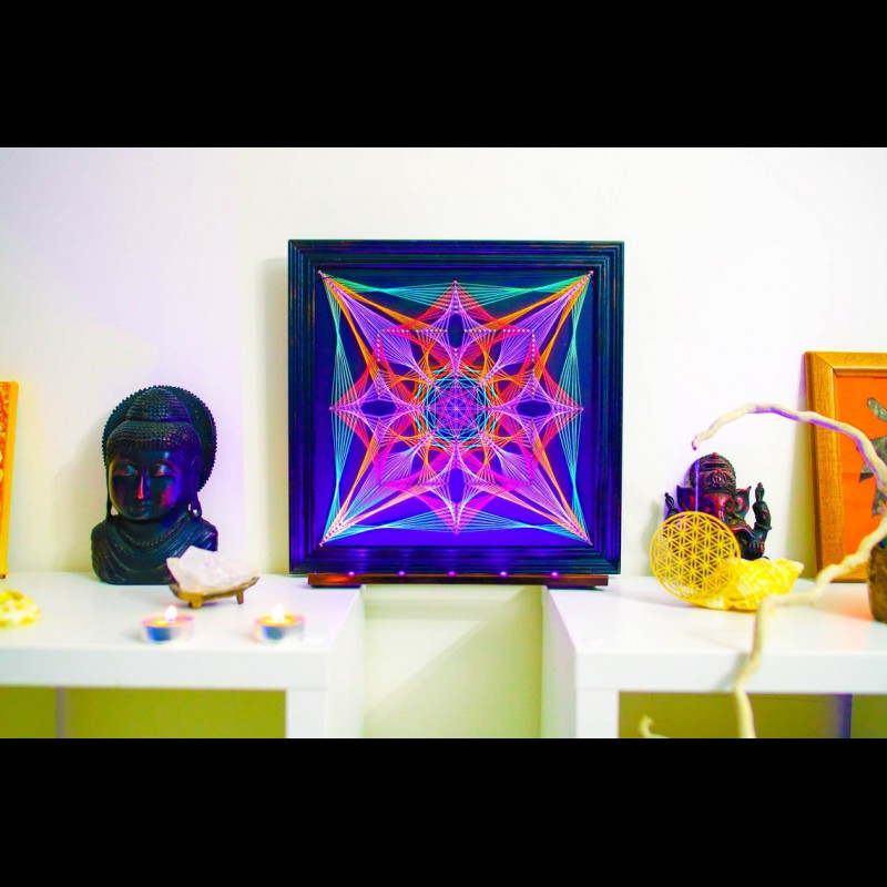 """Blacklight UV String Art Mandala """"Sacral Portal"""""""