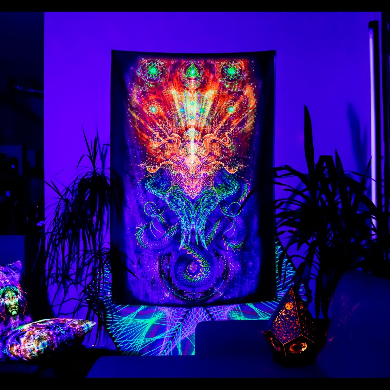 "trippy backdrop psytrance tapestry ""Infinity Dragon"""