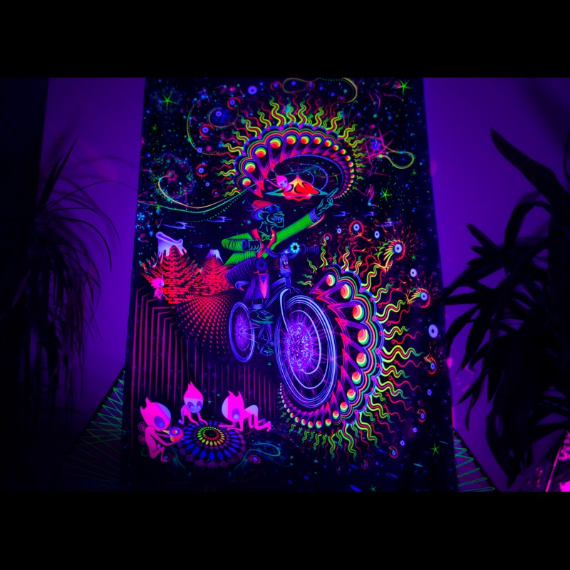 "trippy hippie UV-active wall art ""Bicycle Day"""