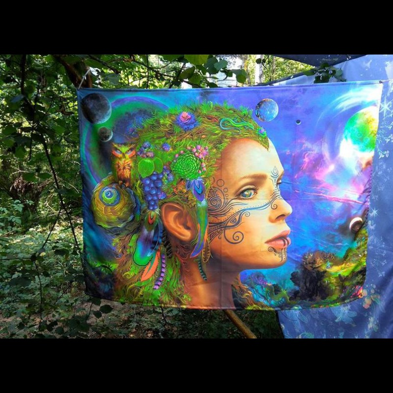 Esoteric shamanic fluorescent tapestry «Mother Earth»
