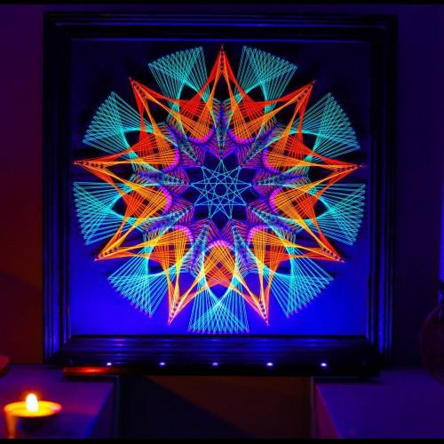 "Trippy Wall Deco Fluorescent String Art  ""Beginning"""