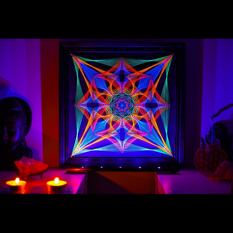 "Blacklight UV String Art Mandala ""Sacral Portal"""