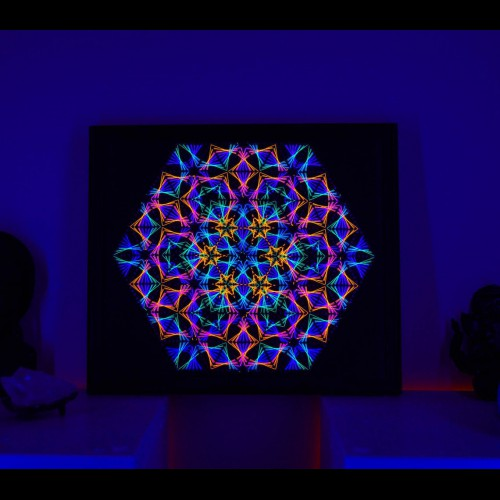 "Glowing UV String Art ""Sacred Mandala"""