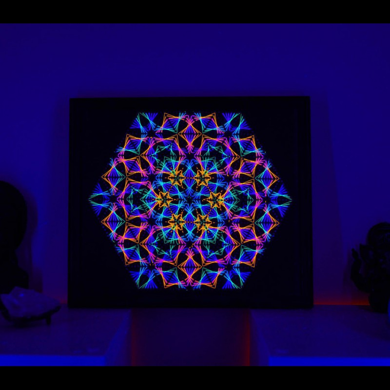 "Glowing UV String Art ""Sacred Mandala"""