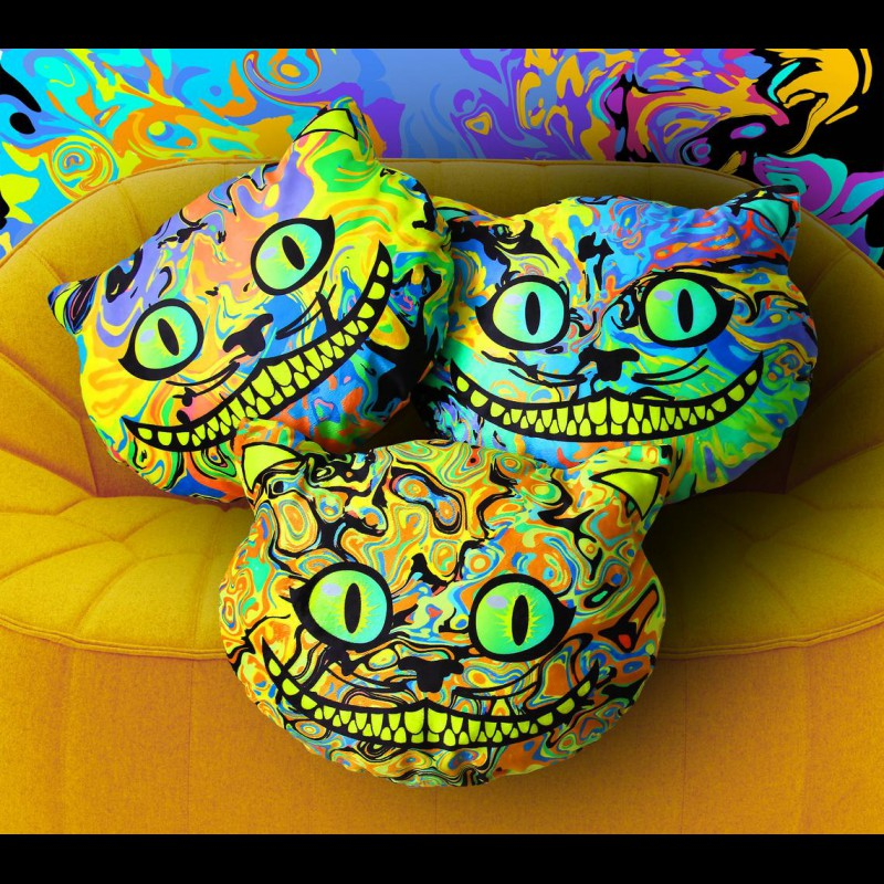 "Psychedelic Cushion Trippy Pillow ""Cheshir Cat"""