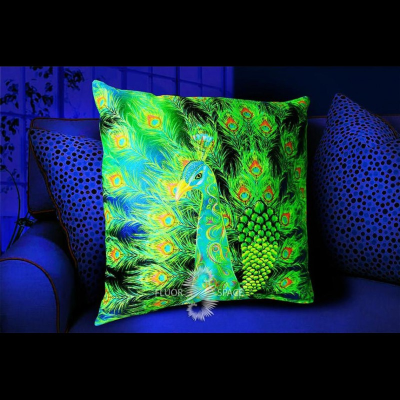 "Mushroom Hippie UV-Cushion  ""Wondrous Peacock"""