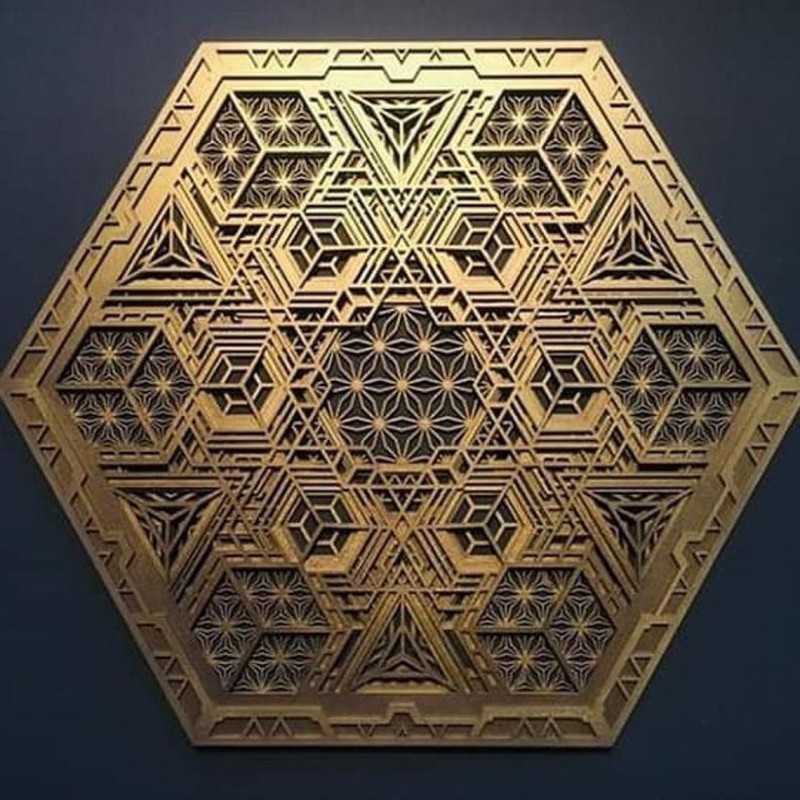 "Sacred Geometry Wall Hanging Mandala ""Navi"" 5 layers"