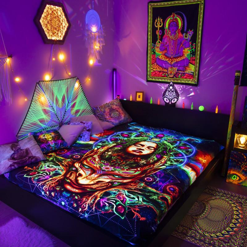 Psychedelic ethnic bedspread spiritual decor «Inside»