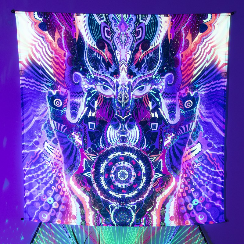 Psychedelic UV-active painting «Song of the Shaman»