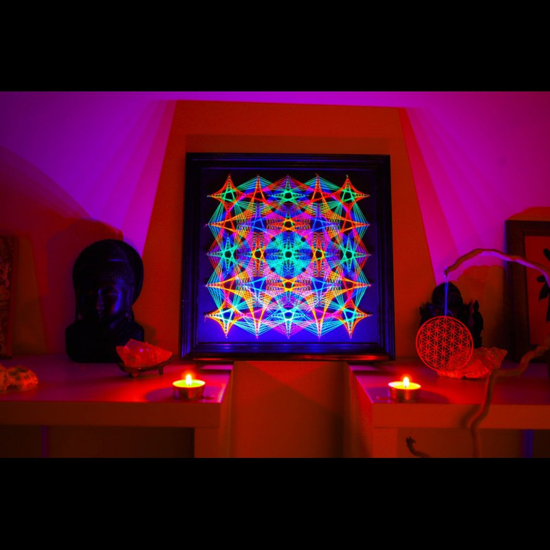 "Fluorescent String Art  Mandala ""Own Spirit"""