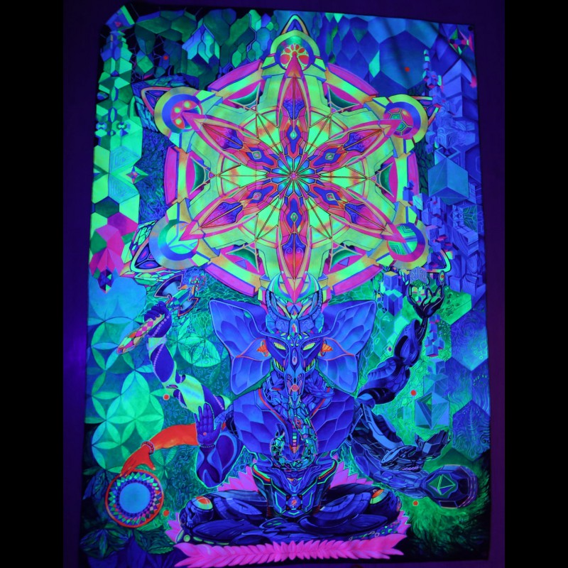 "Psychedelic Blacklight active Backdrop ""Cyber Ganesh"""