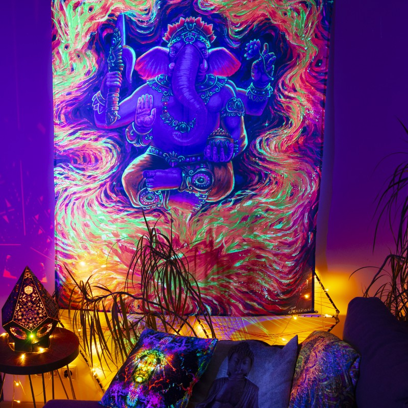 Spiritual blacklight active painting «The Power of Ganesha»