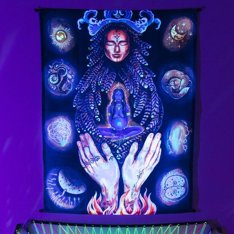 Shamanic blacklight active painting «Ishtar»