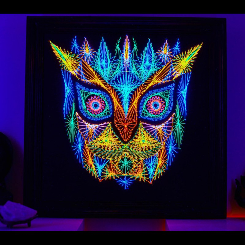 "Psychedelic Wall Neon String Art  ""Forest Guardian"""