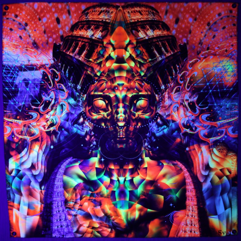 "Trippy Psychedelic Tapestry Wall Art ""Anunaki"""