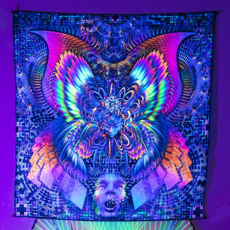 Fluorescent painting on the fabric «Pyroclastic blow»