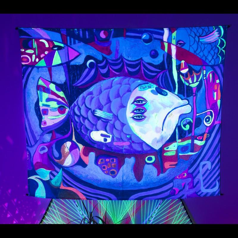 UV tapestry «Underwater cubism»