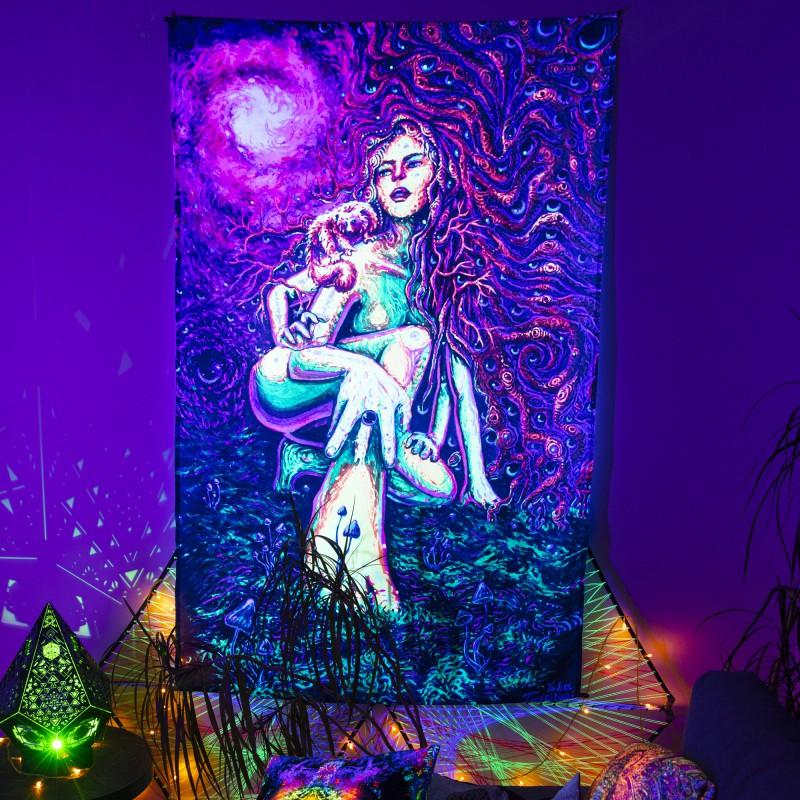 fractal trippy fluorescent décor «Acid fairy»