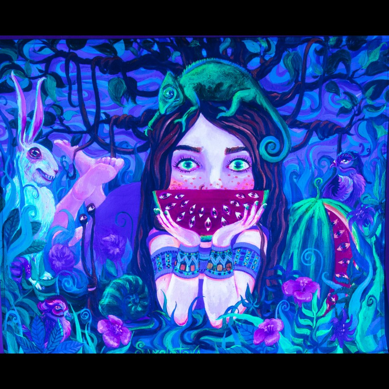 Glowing painting «Girl with dreadlocks»