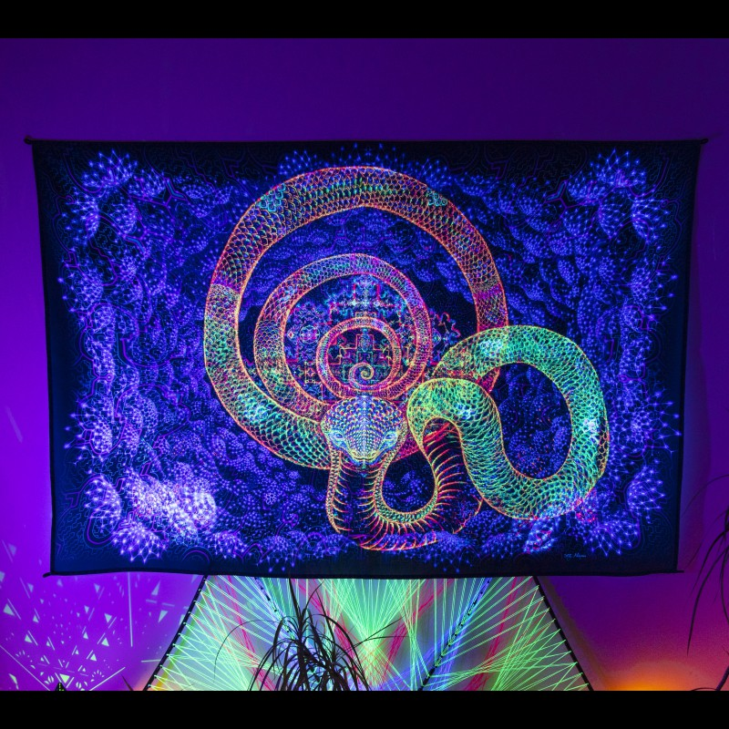 Psychedelic spiritual shipibo painting «Chthonic Serpent»