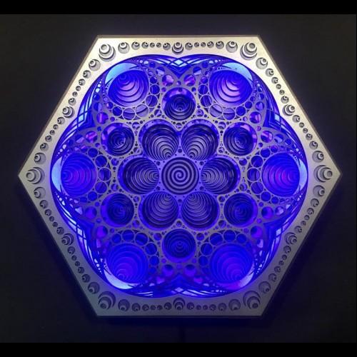 "Magical Spiritual Wall Light Wooden Bohemian Lamp ""Vibration"", 5 la..."