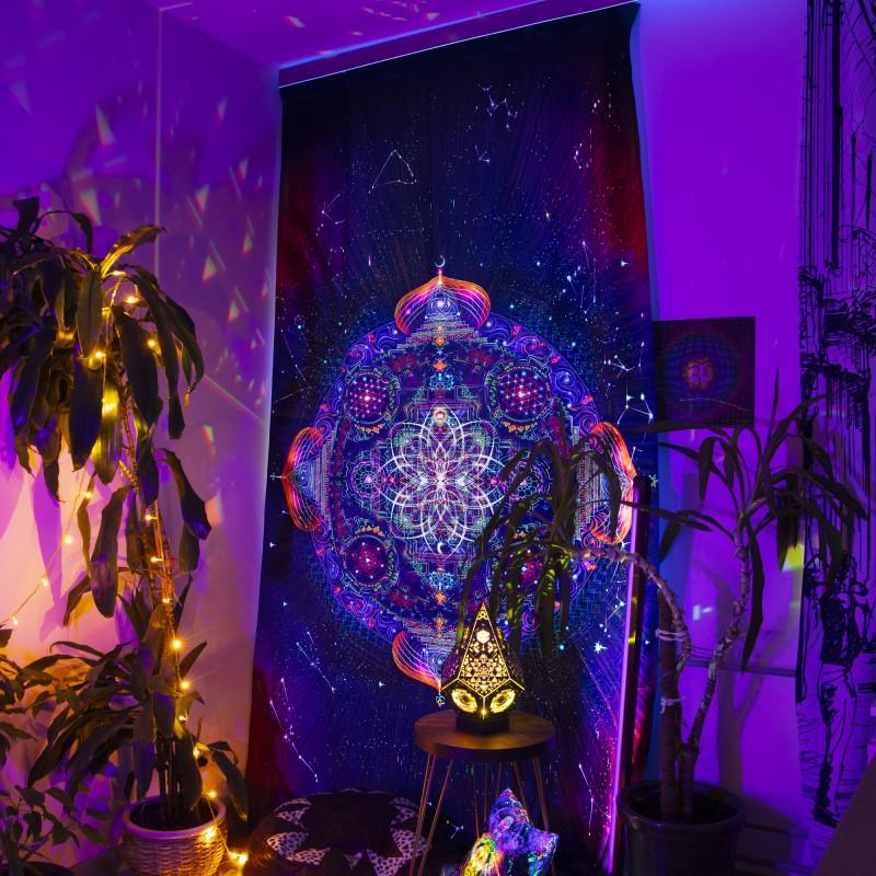 Luminous curtain with mandala «Divine portal»