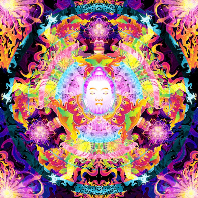 "Tripvision spiritual UV-active art  ""Wrathful Buddha Mandala"""