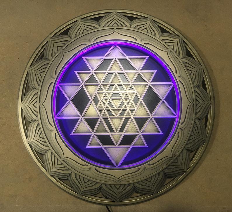 "Bohemian Wood Lamp Sacred Geometry ""Sri Yantra"", 4 layers"