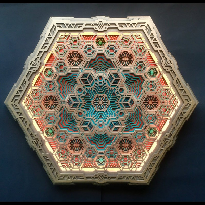 "Sacred Geometry Wall Wood Deco-lamp ""Vega"", 6  layers"