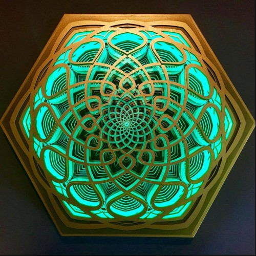 "Spiritual Wooden Mandala Wall Deco ""Vidya"", 6 layers"