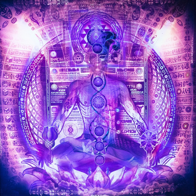 Esoteric UV-active tapestry «Toroidal Tantra»