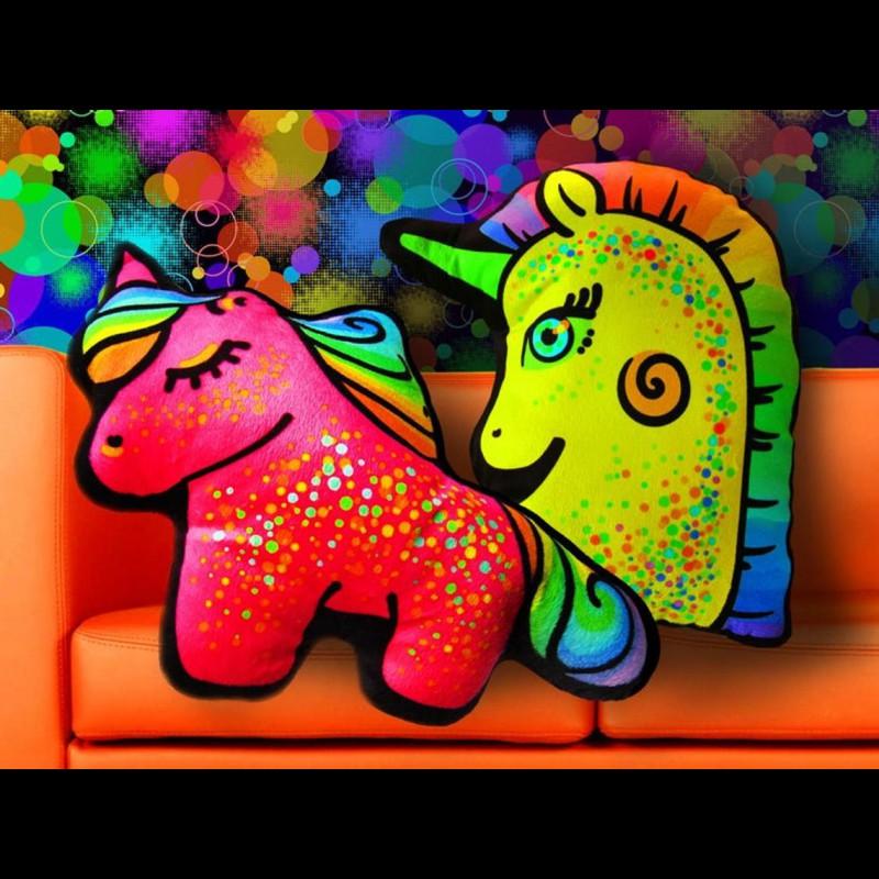 "Psychedelic Decorative Toy Pillow ""Rainbow Unicorn"""
