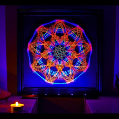 "Psychedelic UV Wall Art ""Anahata Mandala"""