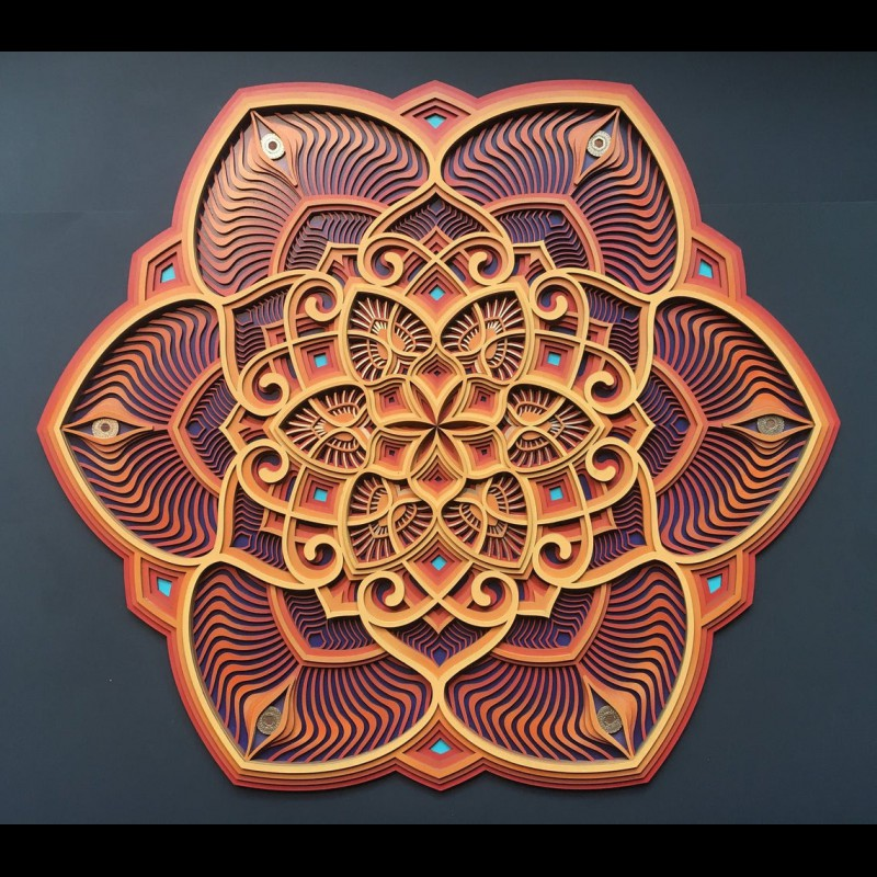 "Sacred Geometry Mandala Wall Art ""Sunflower"" 6 layers"