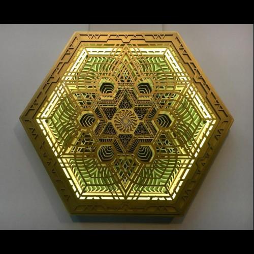 "Multi Color Bohemian Lamp Wood Light ""Navi"", 5 layers"