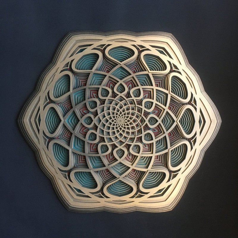 "Wood Carved Bohemian Wall Deco Mandala ""Vidya"" 6 layers"