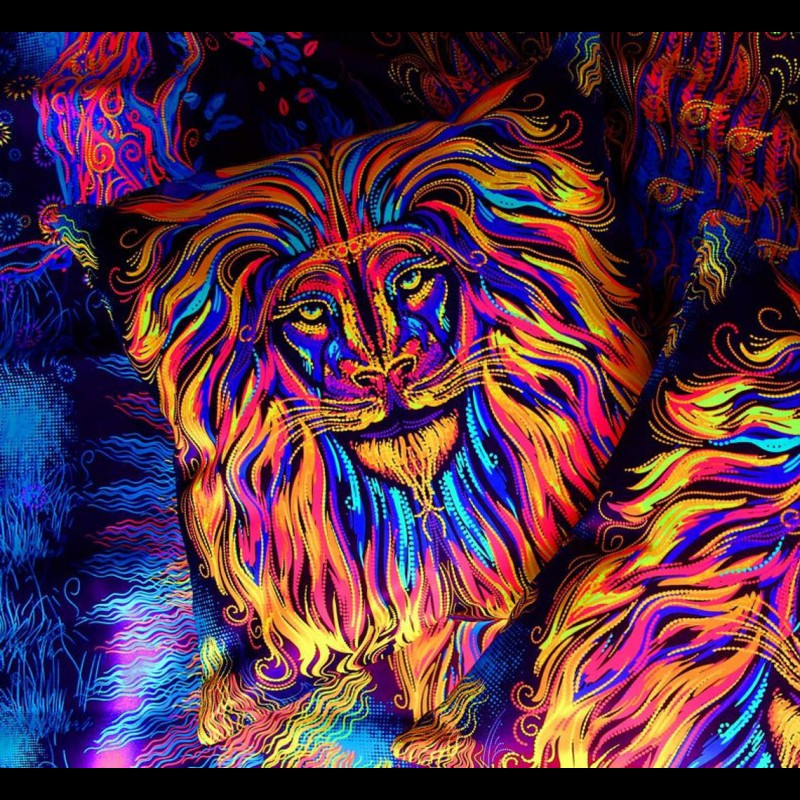 "Fluorescent Mushroom Decorative Pillow ""Sacred lion"""
