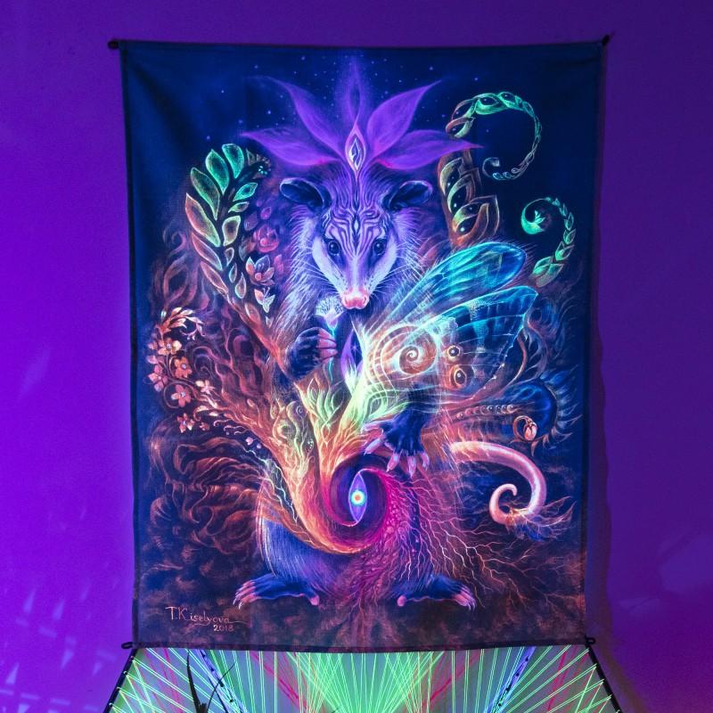 Hippie fluorescent wall decor «Opossum Medicine»